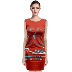 That Snow Moon Star Wars  Ugly Holiday Christmas Red Background Classic Sleeveless Midi Dress