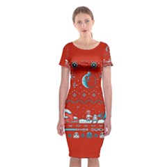 That Snow Moon Star Wars  Ugly Holiday Christmas Red Background Classic Short Sleeve Midi Dress