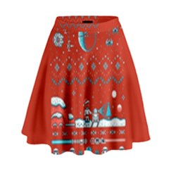 That Snow Moon Star Wars  Ugly Holiday Christmas Red Background High Waist Skirt