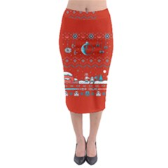 That Snow Moon Star Wars  Ugly Holiday Christmas Red Background Midi Pencil Skirt