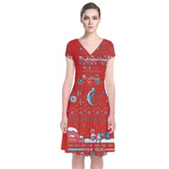 That Snow Moon Star Wars  Ugly Holiday Christmas Red Background Short Sleeve Front Wrap Dress