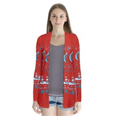 That Snow Moon Star Wars  Ugly Holiday Christmas Red Background Drape Collar Cardigan