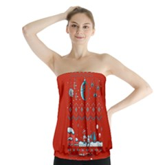 That Snow Moon Star Wars  Ugly Holiday Christmas Red Background Strapless Top