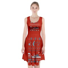That Snow Moon Star Wars  Ugly Holiday Christmas Red Background Racerback Midi Dress