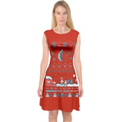 That Snow Moon Star Wars  Ugly Holiday Christmas Red Background Capsleeve Midi Dress