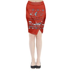 That Snow Moon Star Wars  Ugly Holiday Christmas Red Background Midi Wrap Pencil Skirt