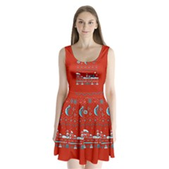That Snow Moon Star Wars  Ugly Holiday Christmas Red Background Split Back Mini Dress