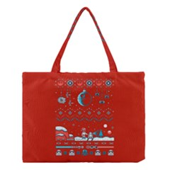 That Snow Moon Star Wars  Ugly Holiday Christmas Red Background Medium Tote Bag