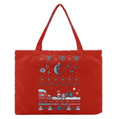 That Snow Moon Star Wars  Ugly Holiday Christmas Red Background Medium Zipper Tote Bag