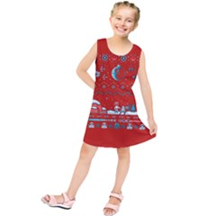 That Snow Moon Star Wars  Ugly Holiday Christmas Red Background Kids  Tunic Dress