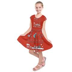 That Snow Moon Star Wars  Ugly Holiday Christmas Red Background Kids  Short Sleeve Dress