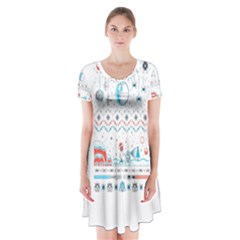 That Snow Moon Star Wars  Ugly Holiday Christmas Short Sleeve V Neck Flare Dress