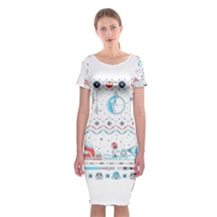 That Snow Moon Star Wars  Ugly Holiday Christmas Classic Short Sleeve Midi Dress
