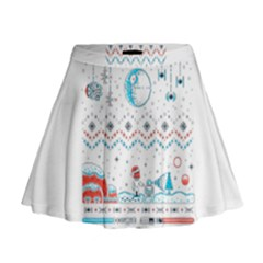 That Snow Moon Star Wars  Ugly Holiday Christmas Mini Flare Skirt