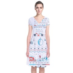 That Snow Moon Star Wars  Ugly Holiday Christmas Short Sleeve Front Wrap Dress