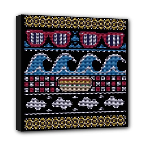 Ugly Summer Ugly Holiday Christmas Black Background Mini Canvas 8  x 8