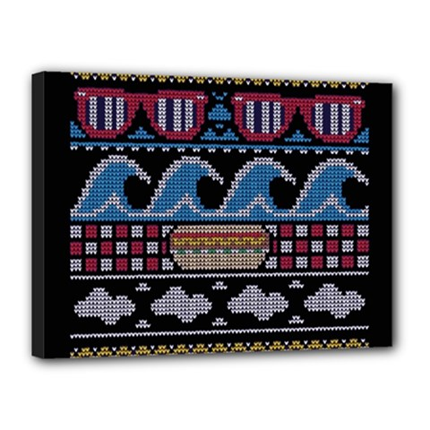 Ugly Summer Ugly Holiday Christmas Black Background Canvas 16  X 12