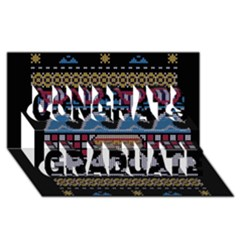Ugly Summer Ugly Holiday Christmas Black Background Congrats Graduate 3D Greeting Card (8x4)