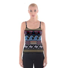 Ugly Summer Ugly Holiday Christmas Black Background Spaghetti Strap Top