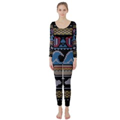 Ugly Summer Ugly Holiday Christmas Black Background Long Sleeve Catsuit