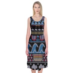 Ugly Summer Ugly Holiday Christmas Black Background Midi Sleeveless Dress