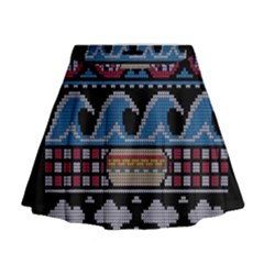 Ugly Summer Ugly Holiday Christmas Black Background Mini Flare Skirt