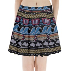 Ugly Summer Ugly Holiday Christmas Black Background Pleated Mini Skirt
