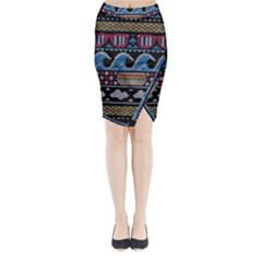Ugly Summer Ugly Holiday Christmas Black Background Midi Wrap Pencil Skirt