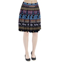 Ugly Summer Ugly Holiday Christmas Black Background Pleated Skirt