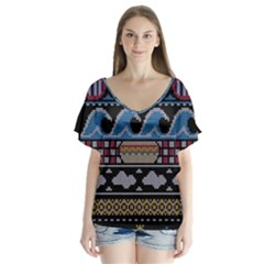 Ugly Summer Ugly Holiday Christmas Black Background Flutter Sleeve Top