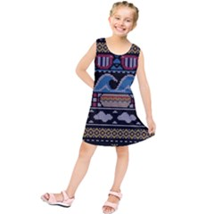 Ugly Summer Ugly Holiday Christmas Black Background Kids  Tunic Dress