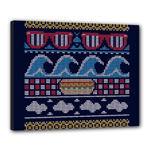Ugly Summer Ugly Holiday Christmas Blue Background Canvas 20  X 16