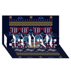 Ugly Summer Ugly Holiday Christmas Blue Background Believe 3d Greeting Card (8x4)