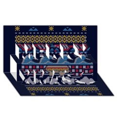 Ugly Summer Ugly Holiday Christmas Blue Background Merry Xmas 3D Greeting Card (8x4)
