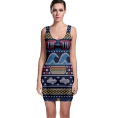 Ugly Summer Ugly Holiday Christmas Blue Background Sleeveless Bodycon Dress