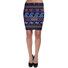Ugly Summer Ugly Holiday Christmas Blue Background Bodycon Skirt