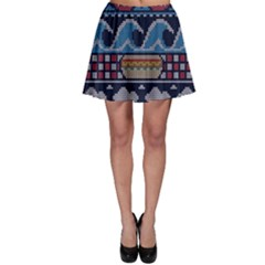 Ugly Summer Ugly Holiday Christmas Blue Background Skater Skirt