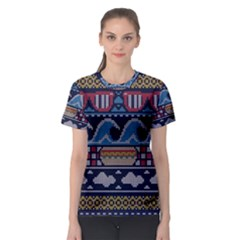 Ugly Summer Ugly Holiday Christmas Blue Background Women s Sport Mesh Tee
