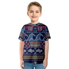 Ugly Summer Ugly Holiday Christmas Blue Background Kids  Sport Mesh Tee