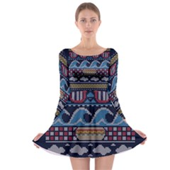 Ugly Summer Ugly Holiday Christmas Blue Background Long Sleeve Skater Dress