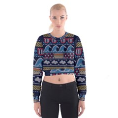 Ugly Summer Ugly Holiday Christmas Blue Background Women s Cropped Sweatshirt