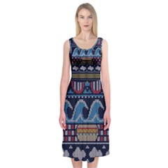 Ugly Summer Ugly Holiday Christmas Blue Background Midi Sleeveless Dress