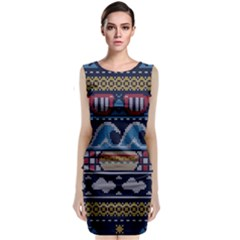 Ugly Summer Ugly Holiday Christmas Blue Background Classic Sleeveless Midi Dress