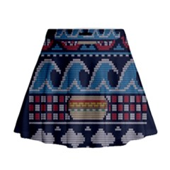 Ugly Summer Ugly Holiday Christmas Blue Background Mini Flare Skirt