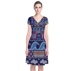 Ugly Summer Ugly Holiday Christmas Blue Background Short Sleeve Front Wrap Dress