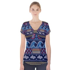 Ugly Summer Ugly Holiday Christmas Blue Background Short Sleeve Front Detail Top