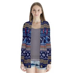 Ugly Summer Ugly Holiday Christmas Blue Background Drape Collar Cardigan