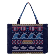 Ugly Summer Ugly Holiday Christmas Blue Background Medium Tote Bag