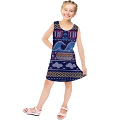 Ugly Summer Ugly Holiday Christmas Blue Background Kids  Tunic Dress