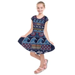 Ugly Summer Ugly Holiday Christmas Blue Background Kids  Short Sleeve Dress